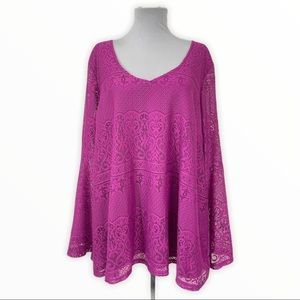 Simply Emma 3X Blouse Lace Pink Lined V-Neck L/S